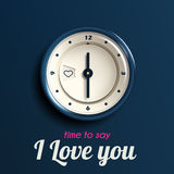 Realistic vector clock for valentine day Stock Photo