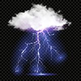 Realistic vector cloud and lightnings Royalty Free Stock Photography
