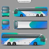Vector realistic coach bus mockup back, top view. Realistic vector coach bus mockup, rear, front, top, side view. Detailed passenger transport, travel vehicle royalty free illustration