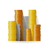 Realistic vector coin piles in flat style Royalty Free Stock Photography