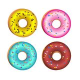 Realistic vector colorful round donuts with sprinkles, glaze. Set of 4 delicious sweet pink, chocolate, yellow, azure donuts royalty free illustration