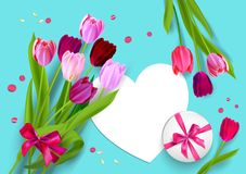 Holiday Mothers day blue card Royalty Free Stock Image