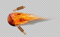 Realistic vector cricket ball in fire on transparent background. Realistic vector cricket ball in fire on transparent background and illustration Royalty Free Stock Image