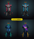 Realistic vector cycling uniforms. Branding mockup. Bike or Bicycle clothing and equipment. short sleeve jersey, gloves. And sunglasses. Front view Stock Photo
