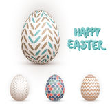 Realistic Vector 3D Easter Egg Set. Happy Easter Painted Vector Stock Image