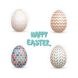 Realistic Vector 3D Easter Egg Set. Happy Easter Painted Vector Stock Images