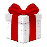 Realistic Vector 3d Gift Box with Red Bow isolated on white background. Element for Various Holiday Designs. Vector illustration. vector illustration