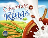 Realistic,vector 3d illustration with a milk splash and chocolat. E rings pouring into the bowl .Element for modern design packaging, advertising for sales fast Royalty Free Stock Photos