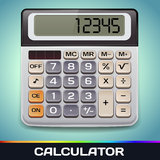 Realistic Vector Electronic Calculator. On blue background Stock Photography