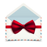 Realistic vector envelope with red bow Stock Image