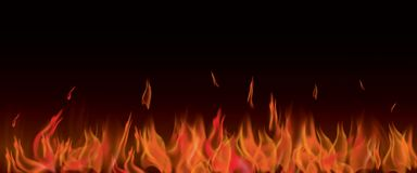 Realistic Vector of fire Banner. Vector illustration of realistic fire flame banner with black background Stock Photography