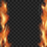 Realistic vector fire flames smoke sparks on both sides Royalty Free Stock Photos