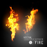Realistic Vector Fire Flames. Transparent vector effects.  Flames with sparks. Vector illustration Royalty Free Stock Photos