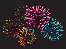 Realistic Vector fireworks. Fireworks exploding in the night sky Stock Photo