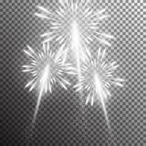 realistic vector fireworks. Set of  realistic vector fireworks on transparent background Stock Image