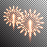 realistic vector fireworks. Set of  realistic vector fireworks on transparent background Royalty Free Stock Image