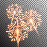 realistic vector fireworks. Set of  realistic vector fireworks on transparent background Royalty Free Stock Photos