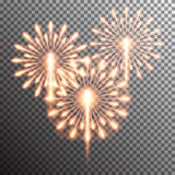 realistic vector fireworks. Set of  realistic vector fireworks on transparent background Stock Photo