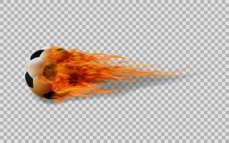 Realistic vector football soccer in fire. Realistic vector football soccer in fire on transparent background and illustration Royalty Free Stock Images