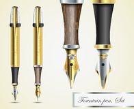 Realistic vector fountain pen icons Stock Photo