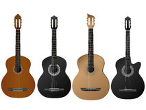Realistic vector of four type of guitars. Royalty Free Stock Image
