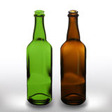 Realistic vector glass beer bottles. Realistic vector blank glass beer bottles in green and brown colors stock illustration