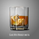 Realistic Vector glass with smokey Scotch Whiskey. And ice isolated on gray background for design and branding. Transparent glass and drink for every background Royalty Free Stock Photography