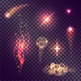 Realistic Vector Glowing Light Effects Set. Realistic vector light effects set. Falling comet, burning flame, shiny stars, light bubbles on transparent Stock Images