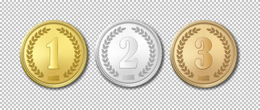 Realistic vector gold, silver and bronze award medals icon set isolated on transparent background. Design templates. The Royalty Free Stock Images