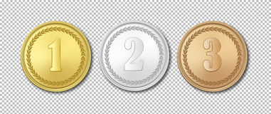 Realistic vector gold, silver and bronze award medals icon set isolated on transparent background. Design templates. The Royalty Free Stock Photos