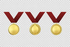 Realistic vector golden award medals icon set. Closeup isolated on transparent background. Design template, mockup in Stock Photos