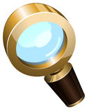 Realistic vector golden magnifying glass Stock Images