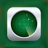 Realistic vector green radar icon. Realistic green radar icon. Vector illustration Stock Photography