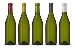 5 realistic vector green wine bottles without labels  on white background. Design template in EPS10. 5 realistic vector green wine bottles without labels  on Royalty Free Stock Photo
