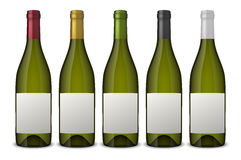 5 realistic vector green wine bottles with white labels  on white background. Design template in EPS10. 5 realistic vector green wine bottles with white labels Stock Photography