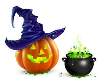 Realistic vector Halloween pumpkin in violet witch hat and black cauldron with green brew. Realistic vector Halloween pumpkin in violet hat and black cauldron vector illustration