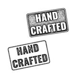 Realistic vector Handcrafted grunge rubber stamps. Two realistic vector Handcrafted grunge rubber stamps isolated on white background Royalty Free Stock Photos