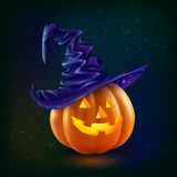 Realistic vector happy Halloween pumpkin in violet witch hat on dark background Royalty Free Stock Image