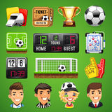 Realistic Vector Icons Set on the Theme of Soccer. Realistic Vector Icons on the Theme of Soccer for Your Sports Apps or other Projects. Clipping paths included Stock Photo