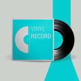 Realistic vector illustration of black vinyl record disk in paper case with Cover Mockup on gray background Retro design Stock Images