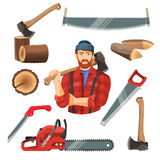 Realistic vector illustration of carpentry items for sawing wood. Axeman instruments set. Axeman saw, tree trunk stump, two and one handle saws, axeman with ax royalty free illustration