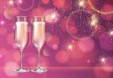 Realistic vector illustration of champagne glass on blurred holiday pink sparkle background royalty free illustration