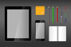 Realistic vector illustration of desk objects - top view Stock Photos