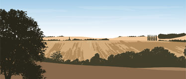 Realistic vector illustration of a hilly landscape with a field. And trees under a blue sky with clouds, layered Stock Photos