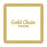 Golden chain square border frame. Rectangle wreath shape. Jewelry design, text frame. vector illustration