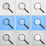 Realistic vector illustration of a magnifying glass at an angle Stock Images