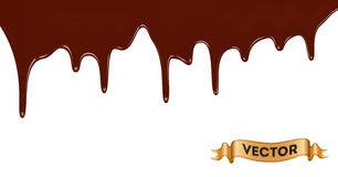 Realistic vector illustration of melted chocolate dripping Royalty Free Stock Photo
