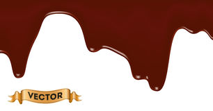 Realistic vector illustration of melted chocolate dripping Royalty Free Stock Photos