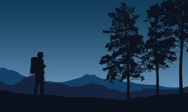 Realistic vector illustration of a night mountain landscape with Stock Images