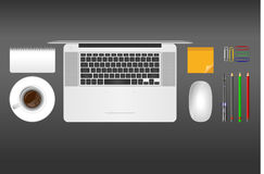 Realistic vector illustration of office objects on grey background Royalty Free Stock Image